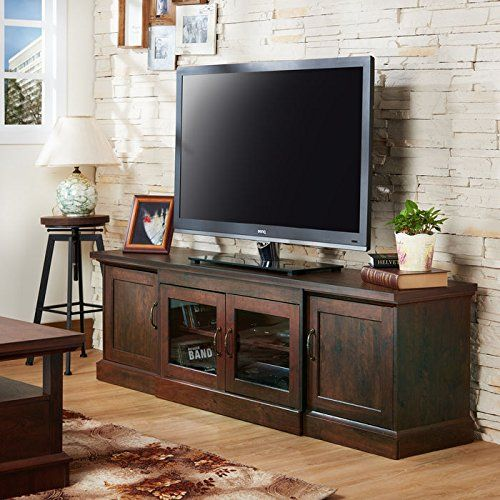 walter 68u2033 2cabinet door compartment walnut wooden tv stand with wiring access and