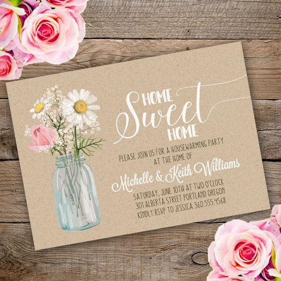 Printable Floral Housewarming Invitation Template. Invite Your
