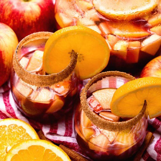 Red Apple Sangria Recipe ~ Delicious Red Spritzer with Cinnamon, Apple Cider, Brandy, Apples and Oranges!
