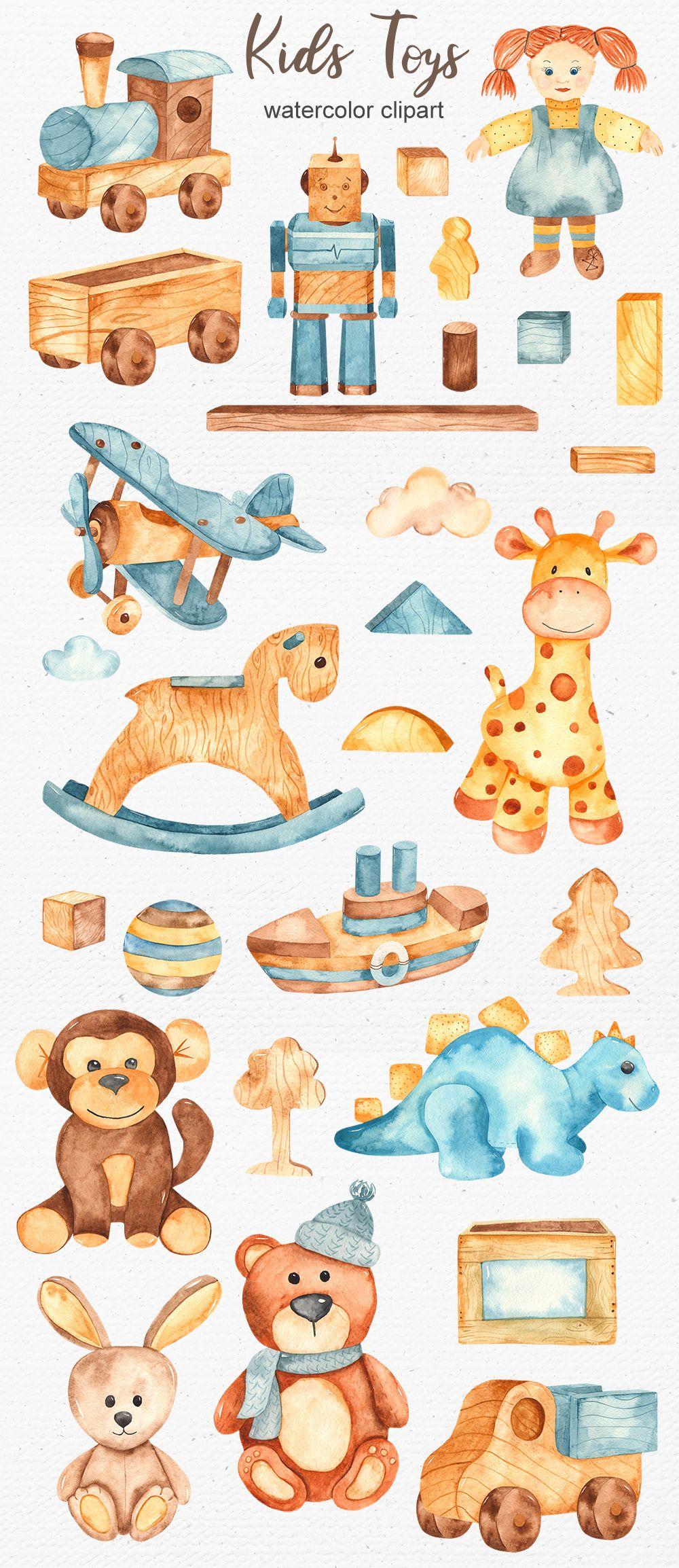 Kids Toys Watercolor Clipart Giraffe Illustration Illustration Art Kids Kids Watercolor