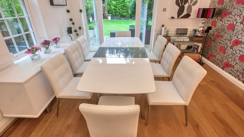 assi white and grey gloss extending dining table - White Gloss Extending Dining Table