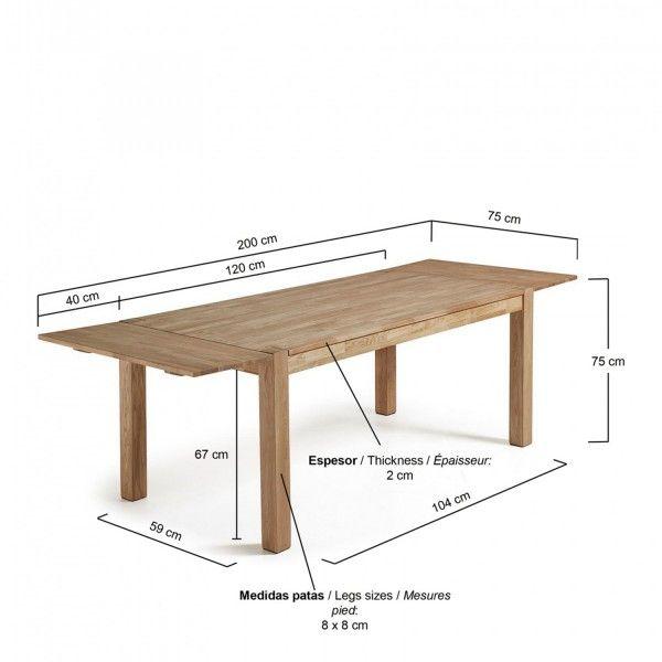 Mesa de comedor extensible m dena 120 200 x75 madera de for Mesas plegables salon diseno