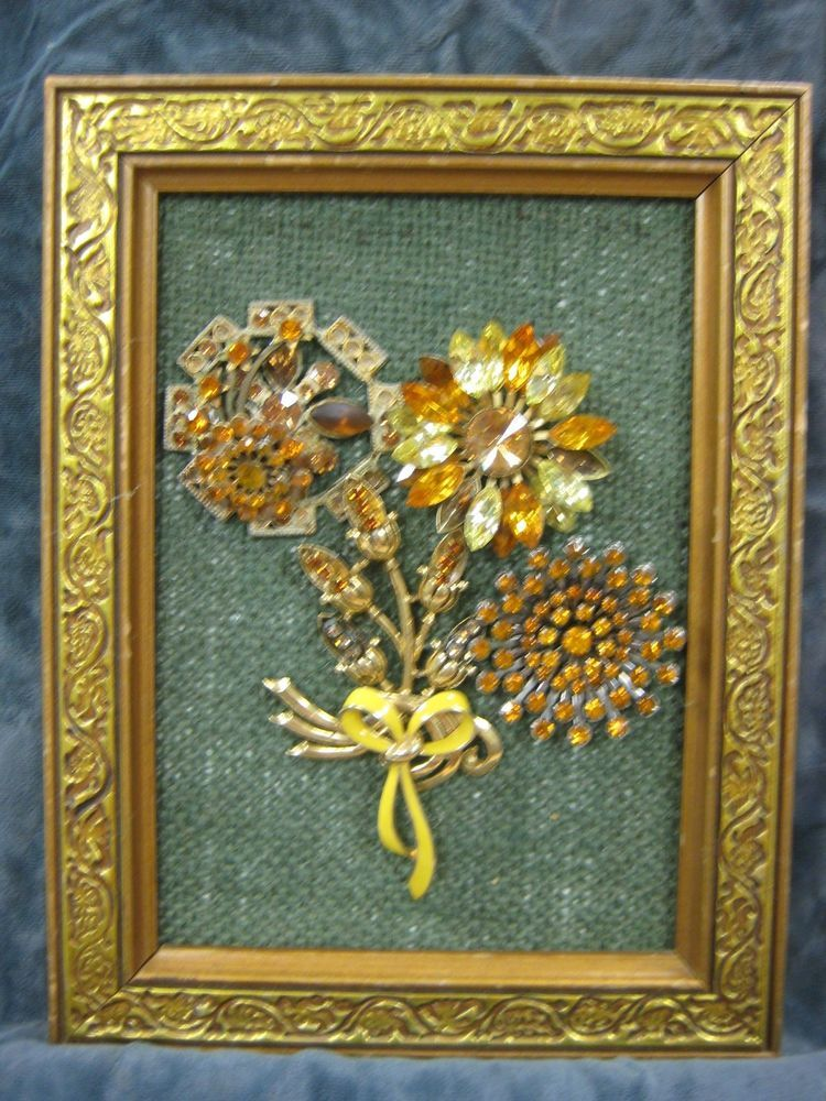 Framed Vintage Jewelry Art 6x9 Quot Gold Floral Bouquet