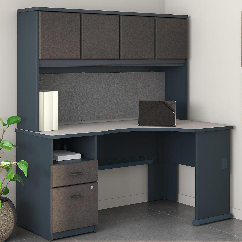 series corner desk. Series A 60W Corner Desk With Hutch And 2 Drawer Pedestal