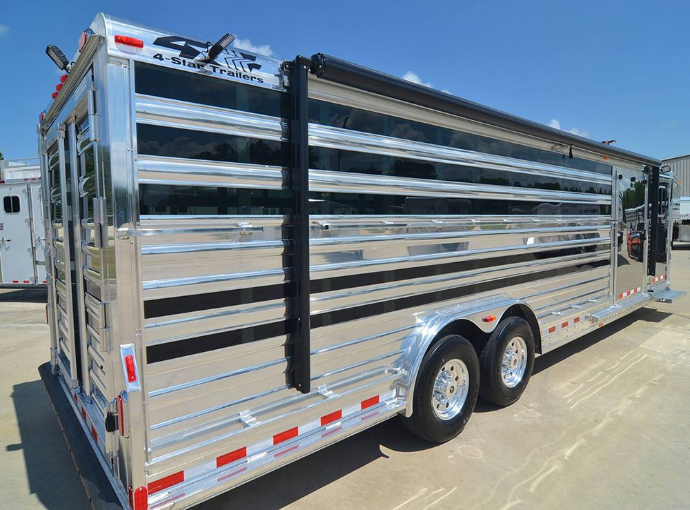 4 Star 28 Show Cattle Trailer Custom Ordered With Polished Slats Stainless Steel Nose Ramp Cs Door Werm Cattle Trailers Show Cattle Livestock Trailers
