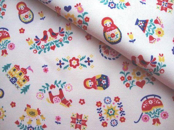 Japanese Fabric Cotton - Matryoshka Palace - by Kokka