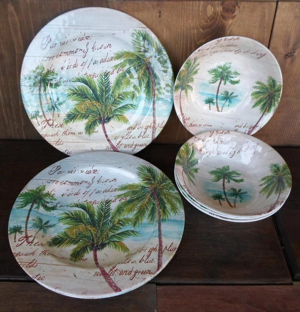 PARADISE PALM TREE NAUTICAL OUTDOOR BEACH PLASTIC 8 pc. SET DINNER PLATES BOWLSu2026 & PARADISE PALM TREE NAUTICAL OUTDOOR BEACH PLASTIC 8 pc. SET DINNER ...
