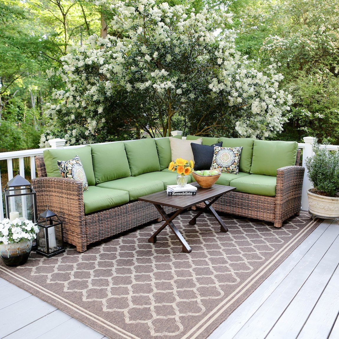 Leisure made piece dalton wicker sectional green fabric