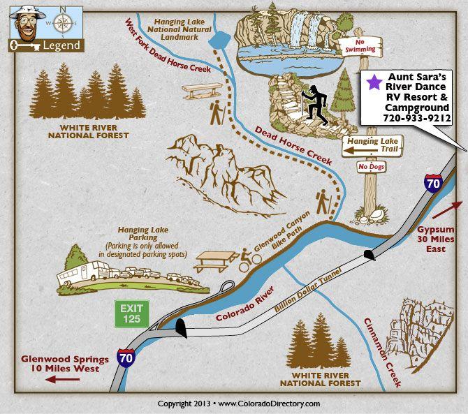 Hanging Lake Hiking Trails Map Hiking Recreation Maps - Colorado waterfalls map