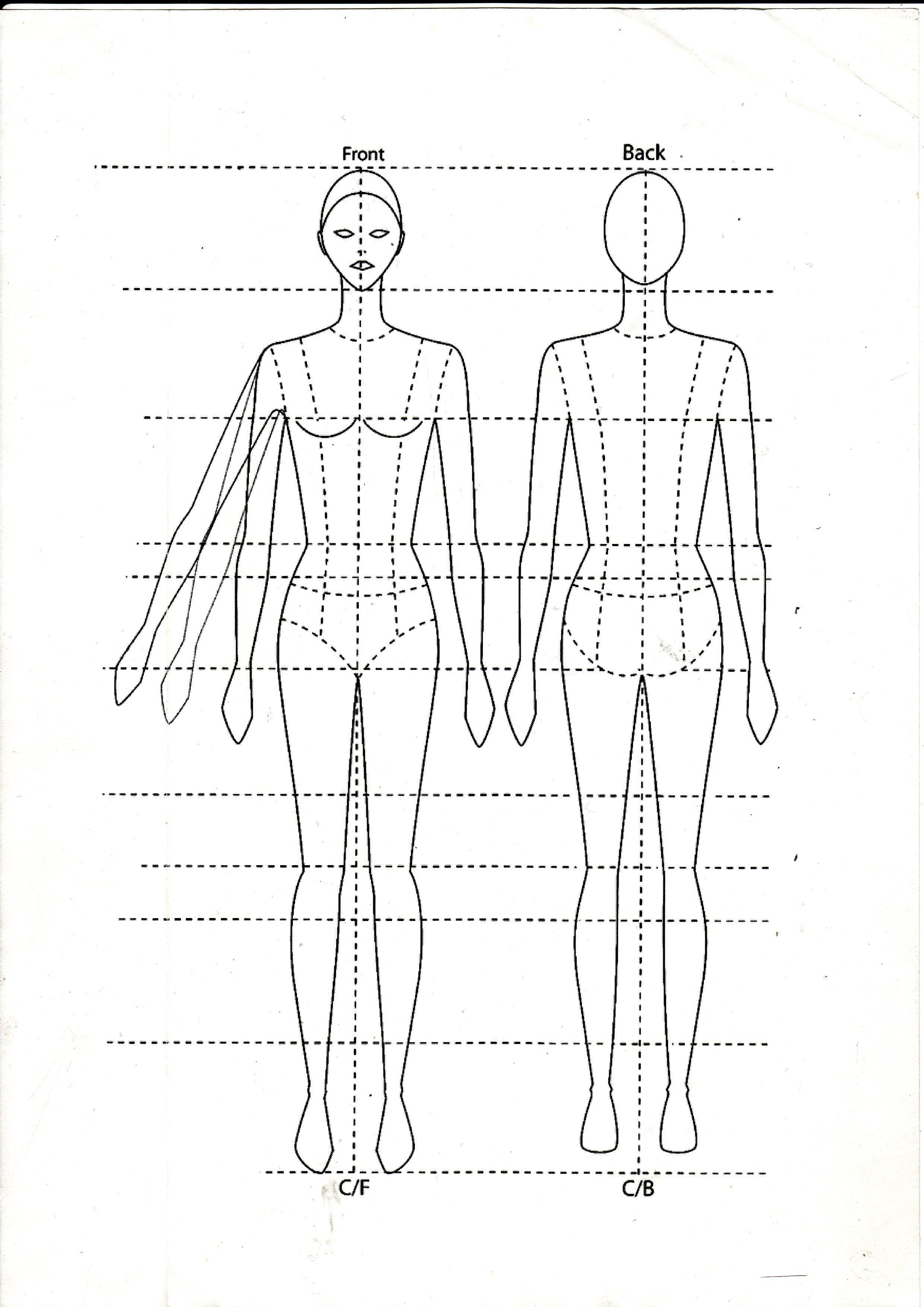 Tops fashion design sketches flat fashion sketch top 045 - Basic Fashion Template Figure