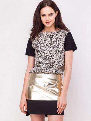KOOVS Woven Mix Animal Print T-Shirt