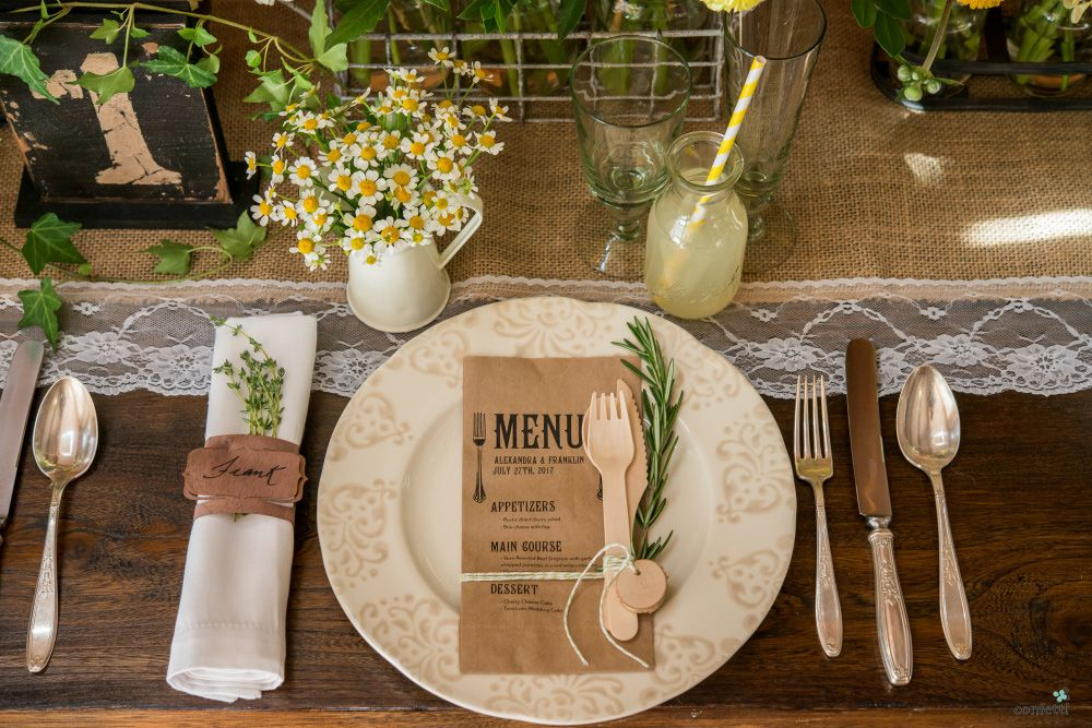 Rustic Wedding Theme | Rustic Table Decor Set Up Ideas | Wooden Cutlery Set  Tied With