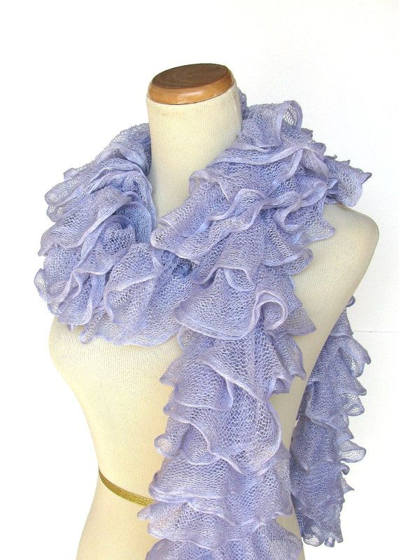 Hand Knit Ruffled Scarf - Periwinkle Blue