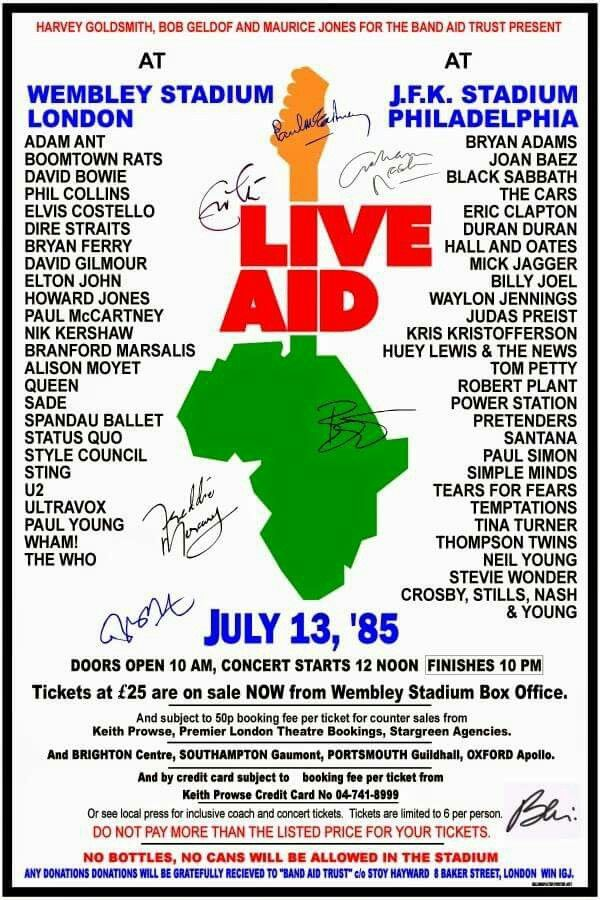 Live Aid 1985 Music Concert Posters Music Cover Photos Concert