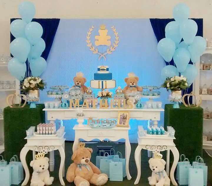Pin de kay b en june 2017 pinterest bautizo osos y for Mesa baby shower nino