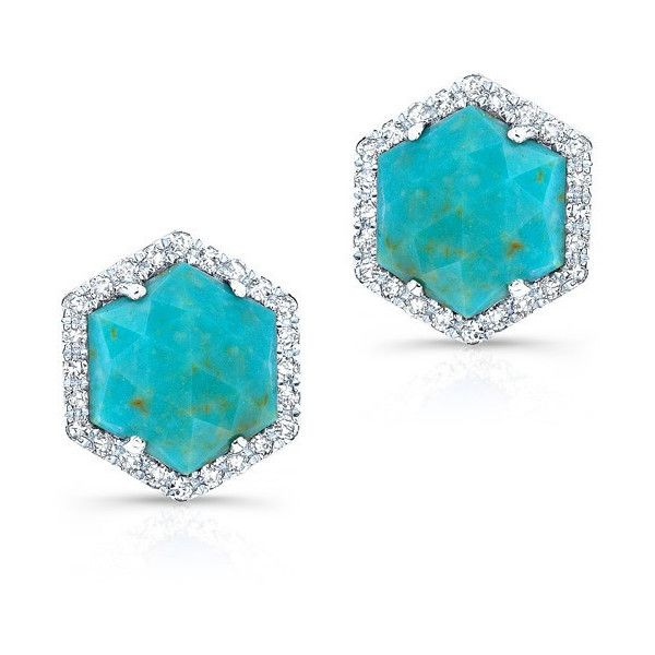 14kt White Gold Turquoise Diamond Hexagon Stud Earrings 599 Liked On Polyvore Featuring
