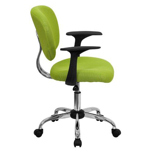 flash furniture h 2376 f gn arms gg mid back apple green mesh task