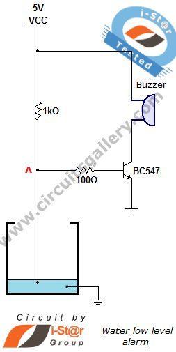 Low water level indicator alarm circuit for Water tank ...