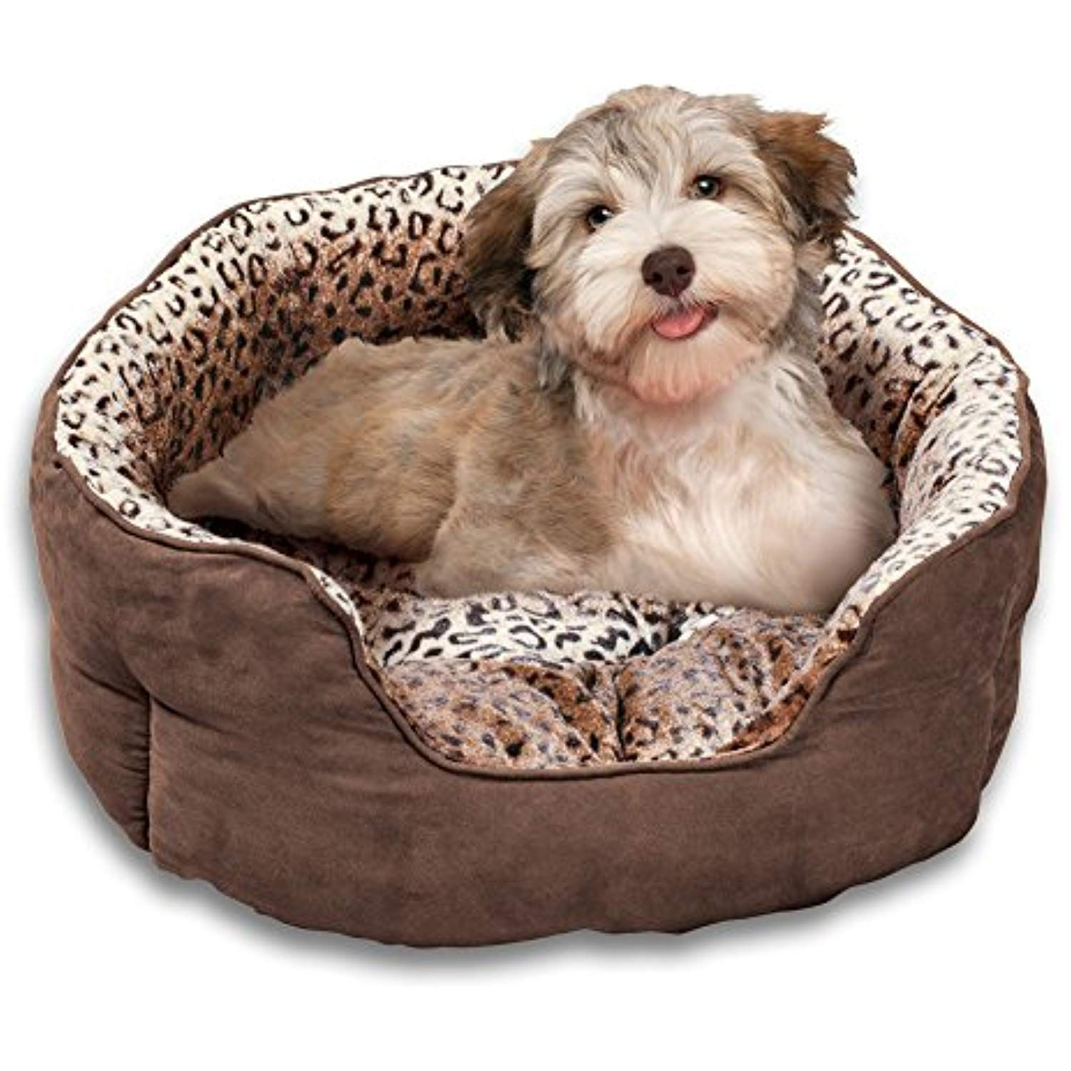 Collections Etc Faux Suede and Leopard Print Pet Bed for