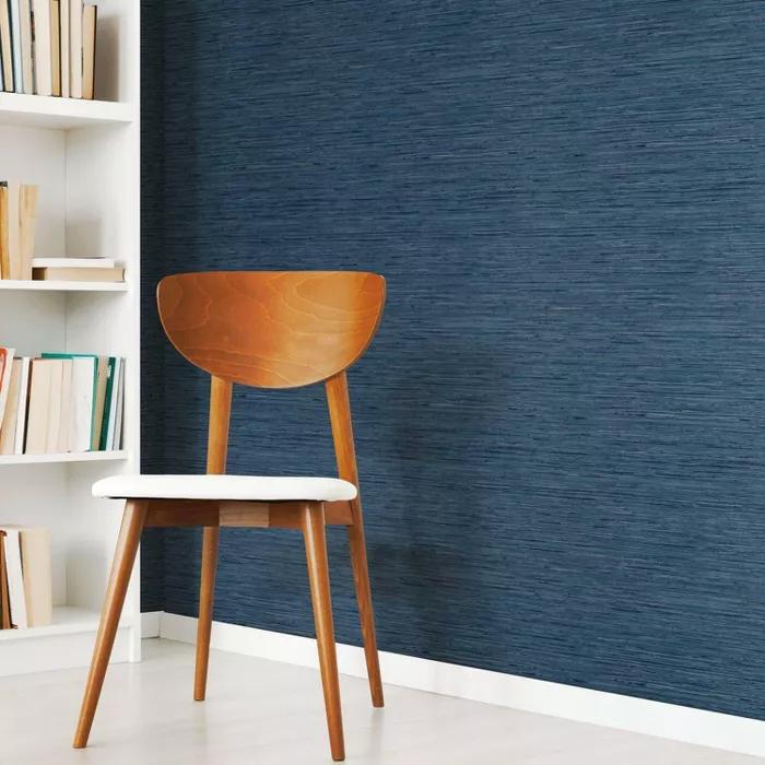 Roommates Grasscloth Blue Peel Stick Wallpaper Accent Walls In Living Room Peel And Stick Wallpaper Grass Wallpaper