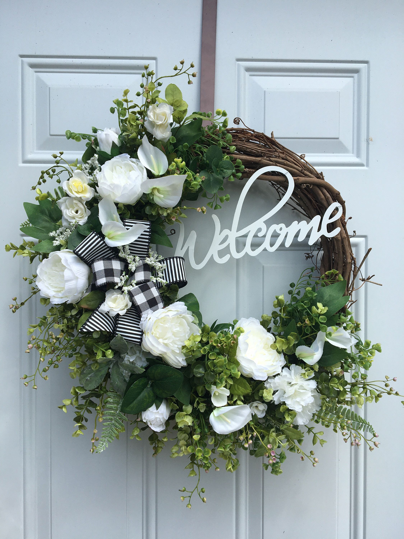Photo of Farmhouse wreath, farmhouse welcome, welcome wreath, spring wreath, eucalyptus wreath, farmhouse decor, rustic welcome wreath, white wreath