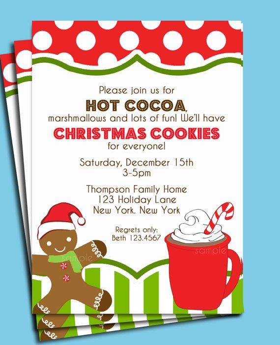 Christmas Hot Cocoa And Cookies Invitation Printable Or Printed With