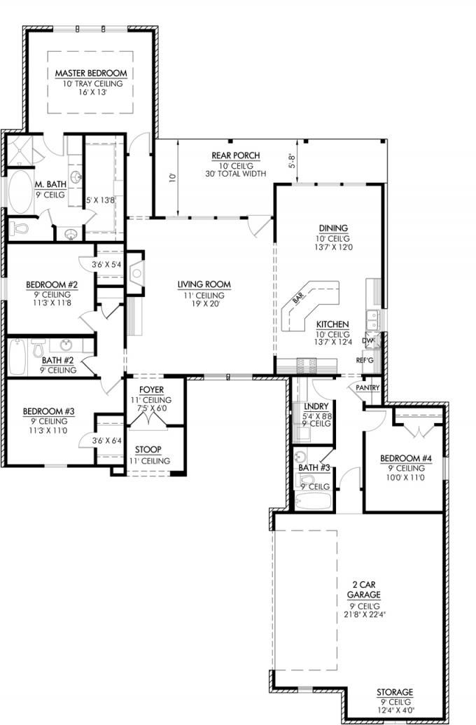This Plan Features A Great French Country Look With A Triple Split Floor  Plan. This Open Floor Plan Makes This Layout Great For Entertaining And  Feat :