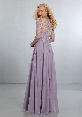 2e3e394b3c0ba Chiffon Bridesmaids Dress with Intricately Embroidered and Beaded Long  Sleeve Bodice
