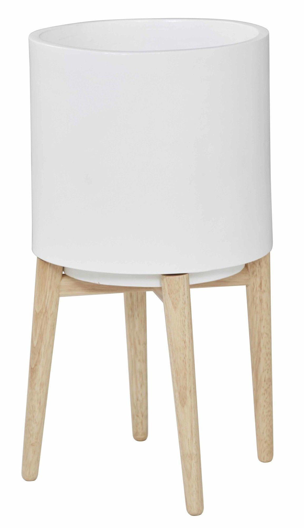 280 Oasis White Planter Pot On Stand Set Of 2 By Amalfi 58 5cm H X 34cm W D Cement Fibre Rubber Wood