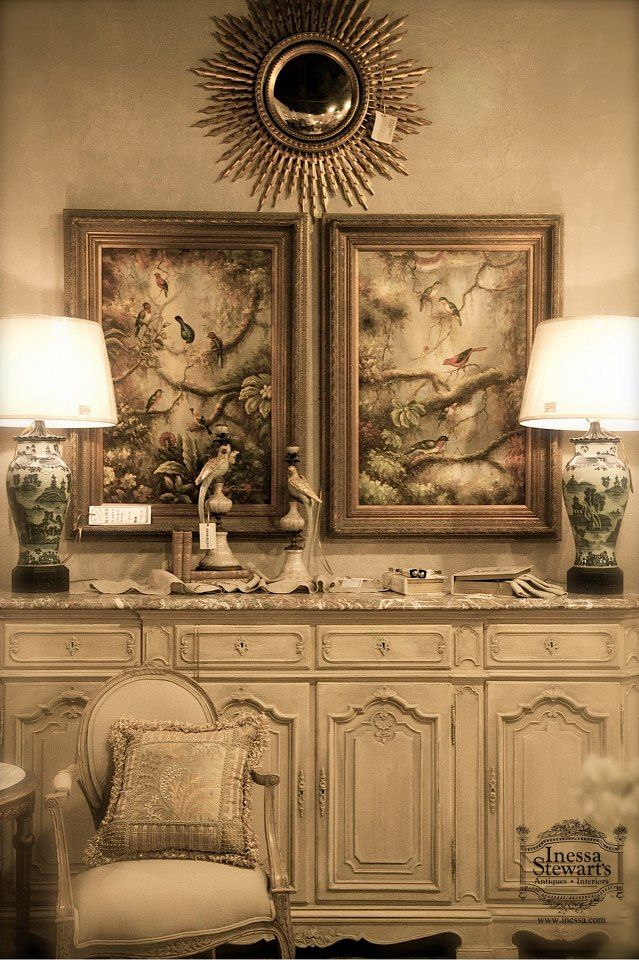 Creamy Golden Color Palette Complimented By Antique Furniture And Accessories Interior Design Elements Vintage Furniture Antique Interior