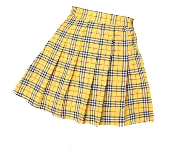 Yellow card plaid skirt