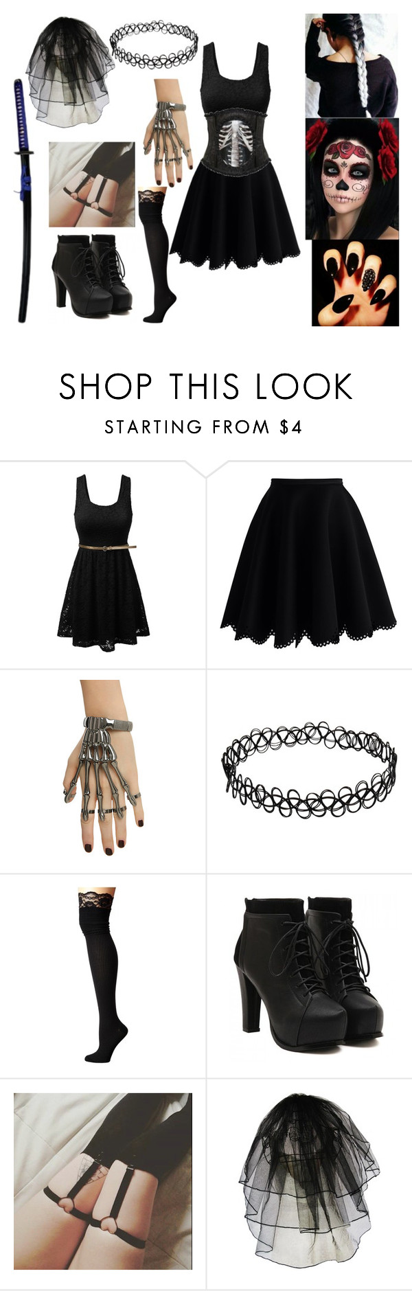 """Skelegirl ( creepypasta )"" by hellhound-chloe666 ❤ liked on Polyvore featuring Chicwish and M&F Western"