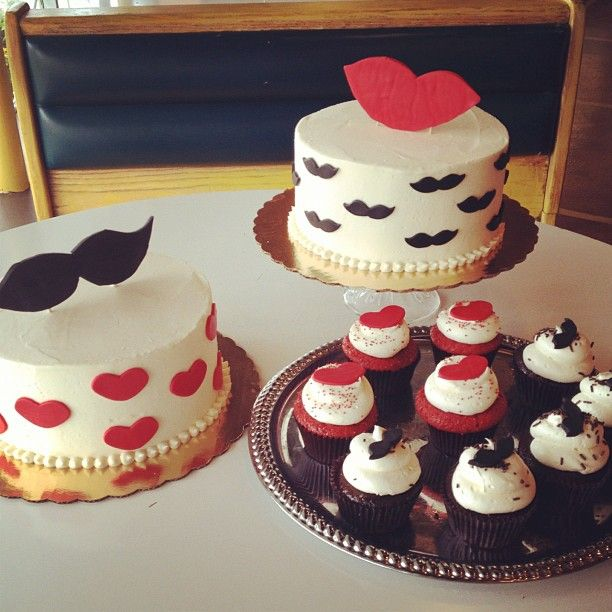 Mustache And Lips Themed Cake Cupcake By 2tarts Bakery New Braunfels TX