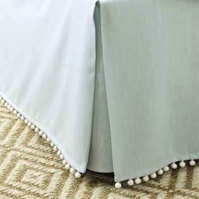 This doesn't come in white, but you could use a different color? I like the spa color. Audree Pom Pom Bedskirt