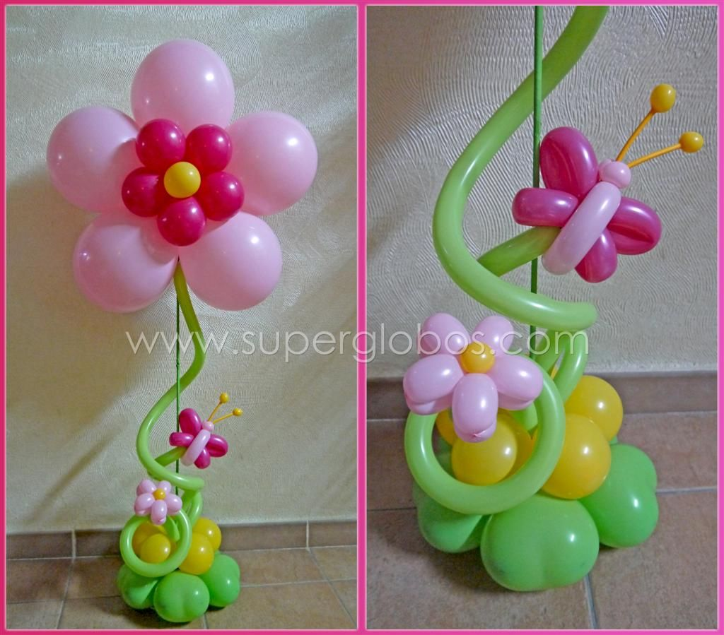 Balloon flower butterfly topiary centrepiece