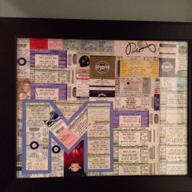 ticket stub collage could use a heart or any other shapes for the tickets too