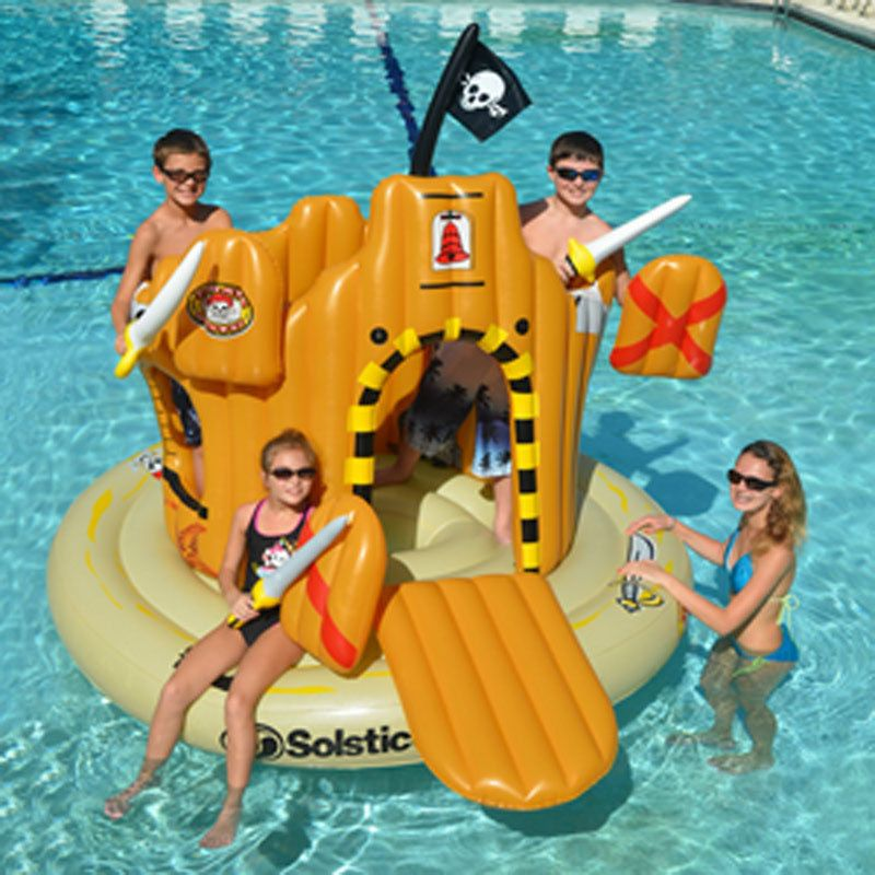 Swimline Inflatable Pirate Island Adventure Set Swimming Pool Kids ...