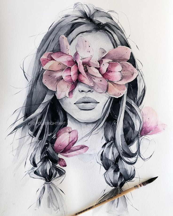 "Polina Bright on Instagram: ""Wild magnolia blindfolded 🖤 Finished  The print is now in store (link in bio)"" -  Polina Bright Art  - #bio #blindfolded #bright #finished #instagram #link #magnolia #polina #print #store #tattoogirldrawing #tattoogirlface #wild"