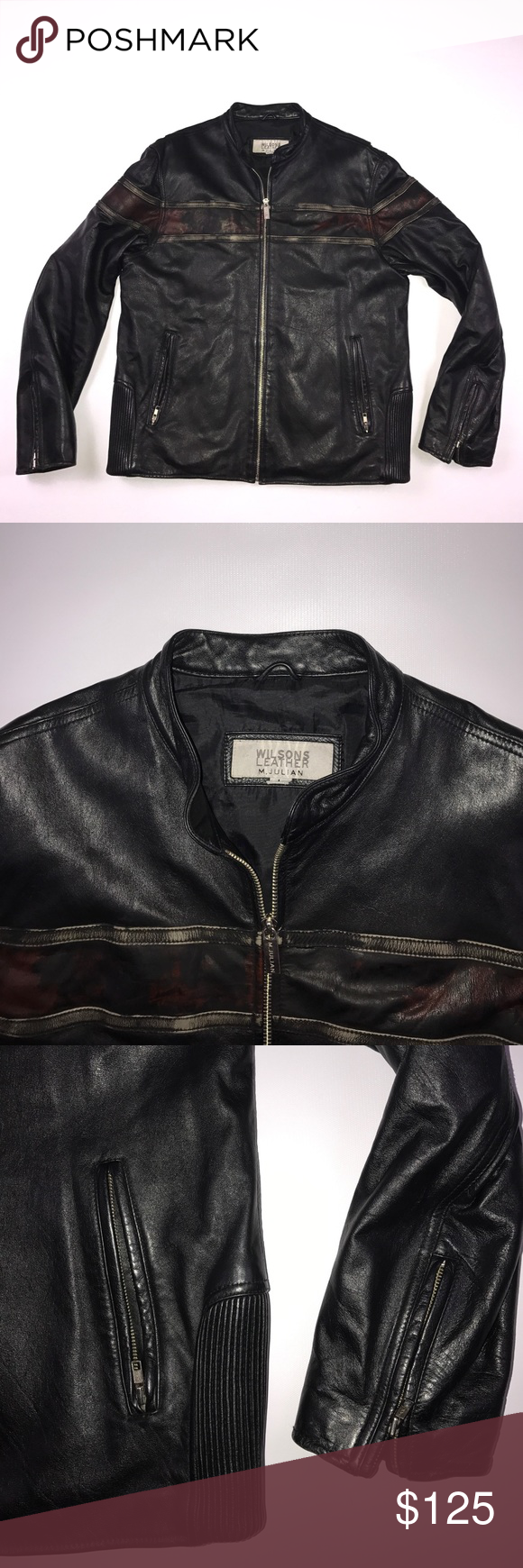 Large Wilsons Leather M Julian Motorcycle Jacket Small