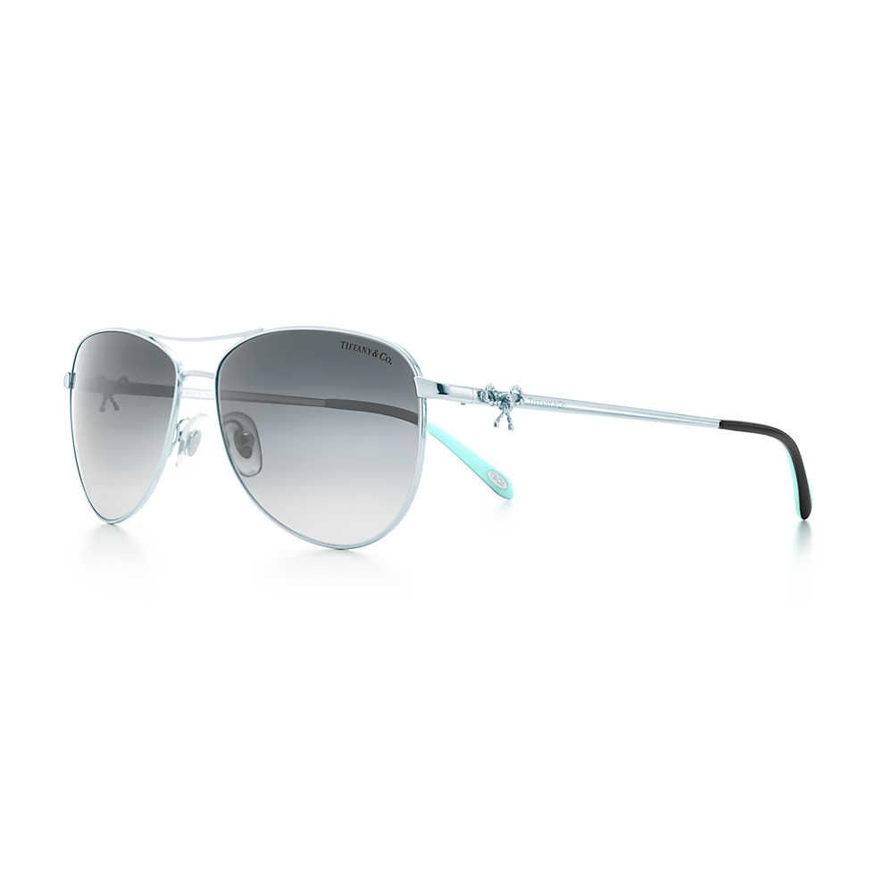 31a469473a2 Tiffany Twist aviator bow sunglasses in silver-colored metal ...