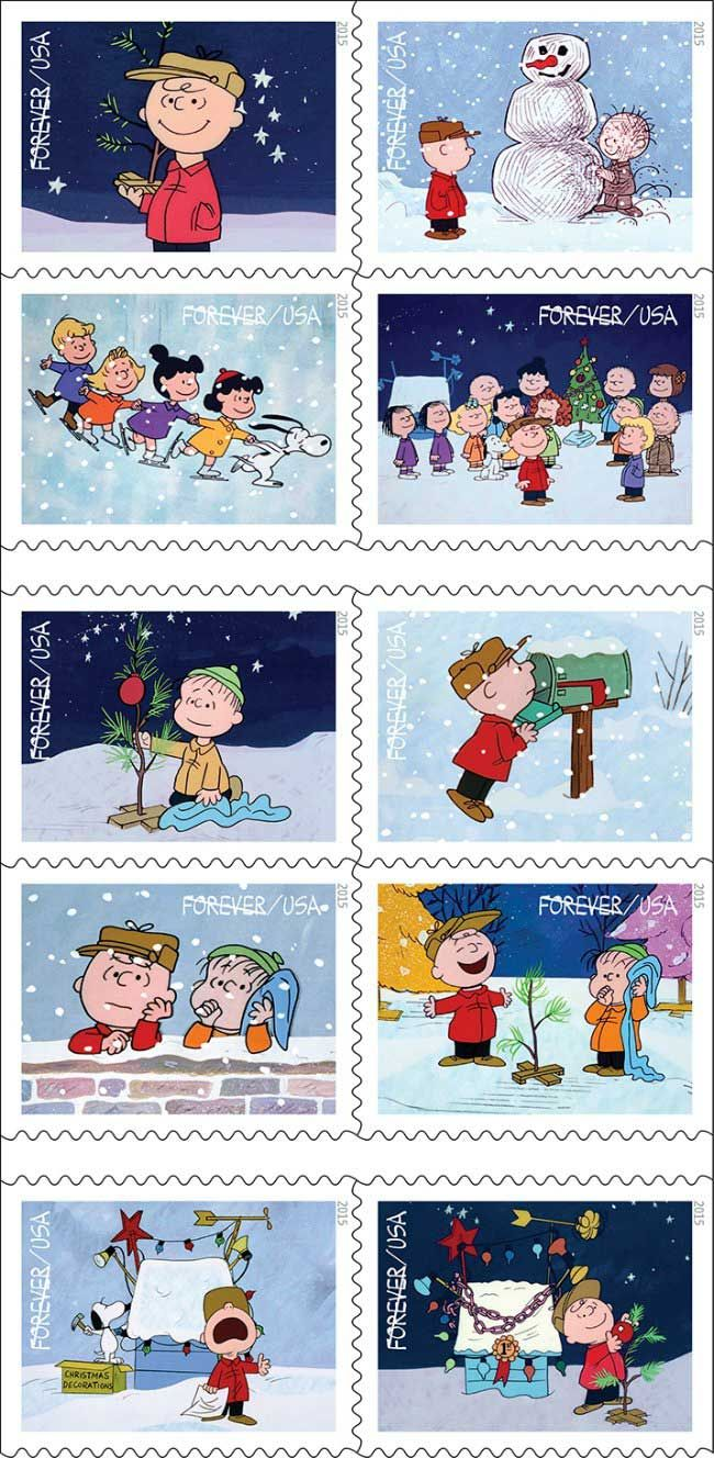 The 2015 Charlie Brown Christmas Stamps from the US Postal Service