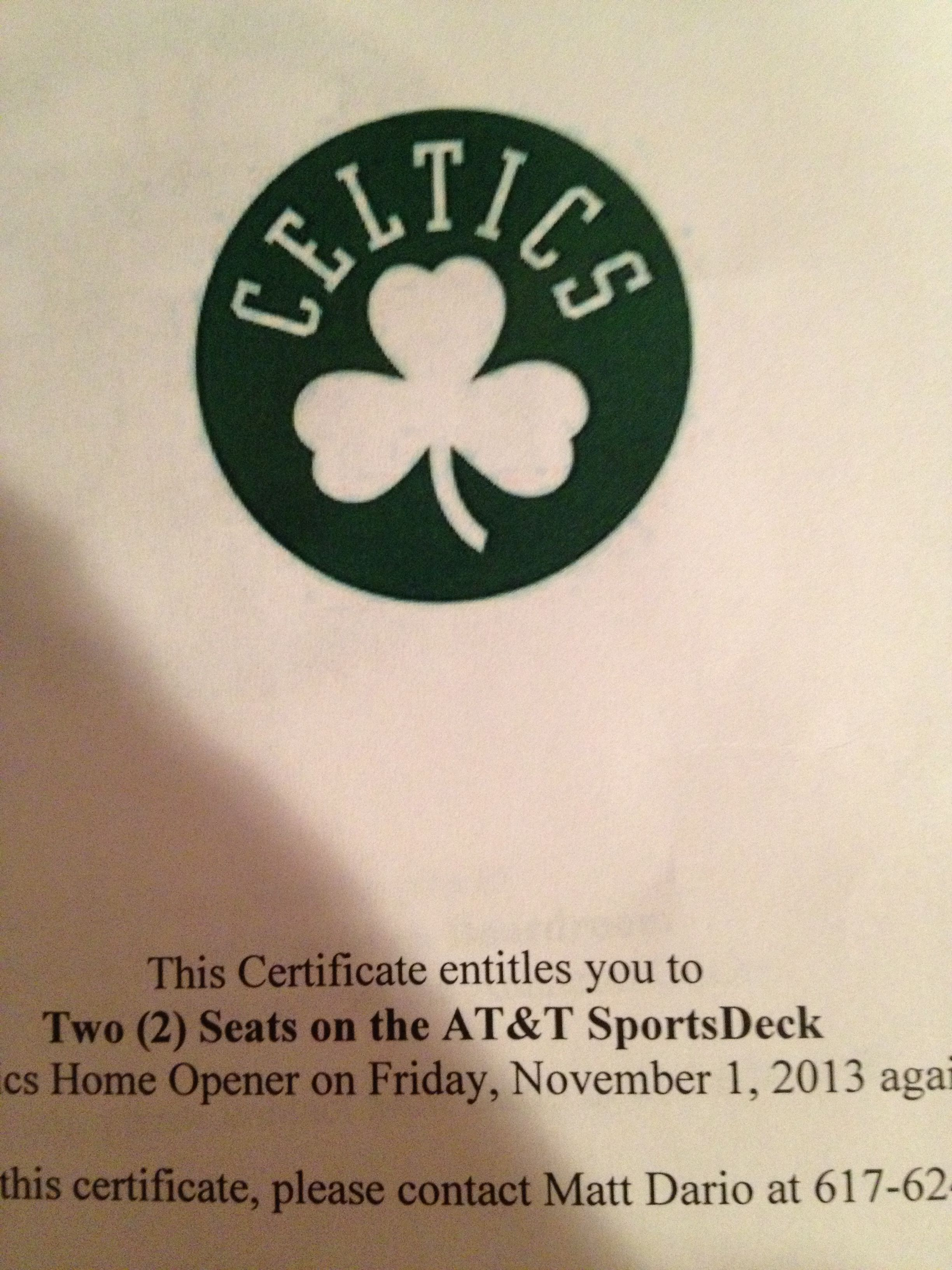 Win This Certificate Of Two 2 Seat Tickets To The Boston Celtics