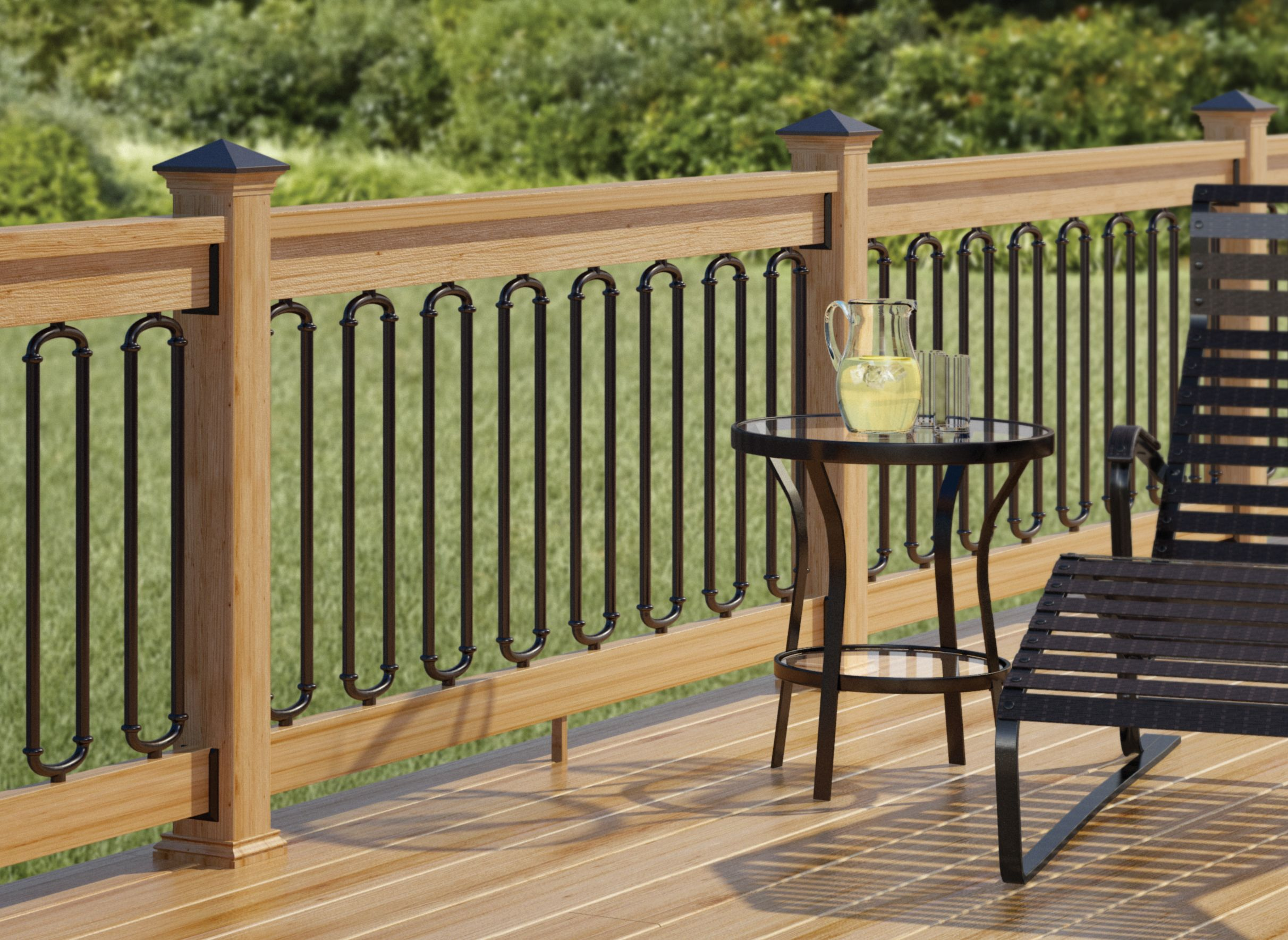Wrought iron deck railing designs check out 100s of deck for Exterior balcony railing design