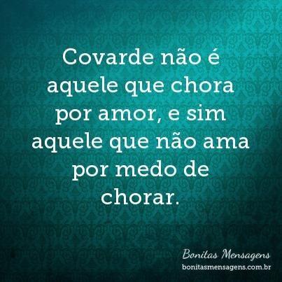 Covarde Não é Aquele Que Chora Por Amor E Sim Aquele Que Não Ama