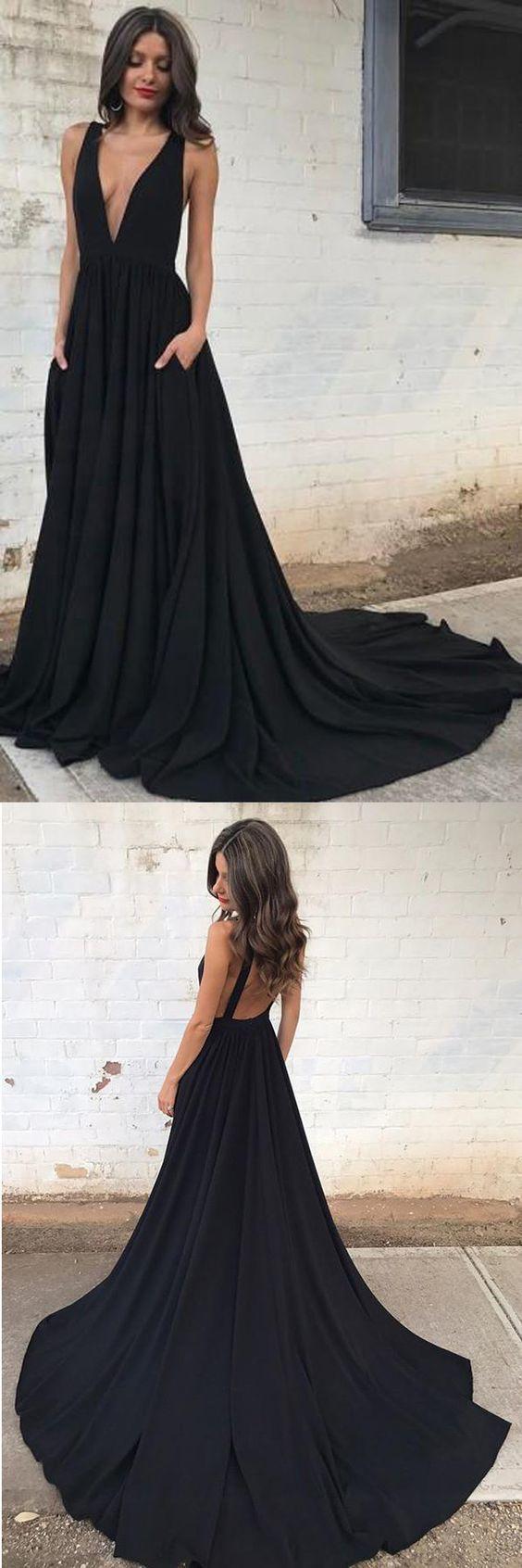 Deep vneck court train sleeveless backless black chiffon prom dress