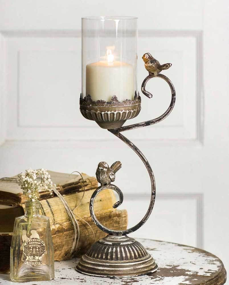 Pillar candle holder victorian songbird primitive farmhouse table