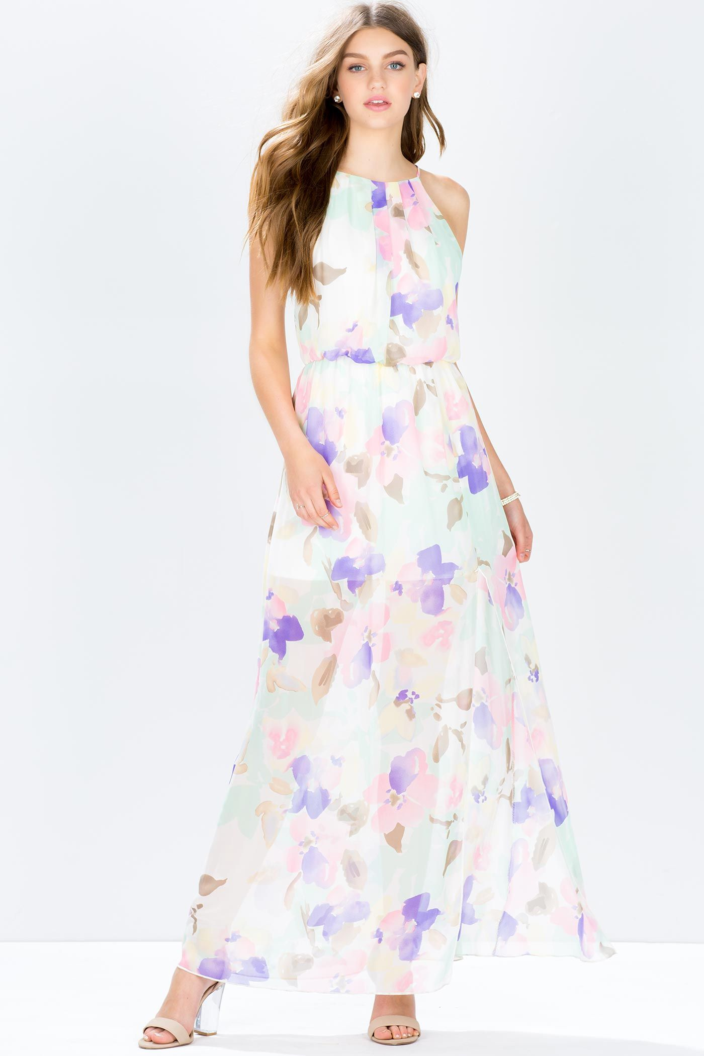 87b762e2a1 A gauzy and dreamy chiffon maxi dress, featuring a tender watercolor-style  floral print