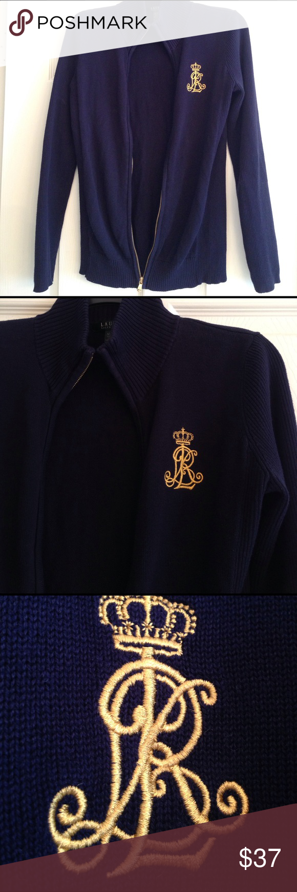 RALPH LAUREN NAVY BLUE INSIGNIA ZIP JACKET Beautiful dark navy blue zip up knit jacket in 100% Cotton for cool Spring days. Pretty embroidered insignia and goldtone zipper.. Really gorgeous!! In great condition. Lauren Ralph Lauren Jackets & Coats