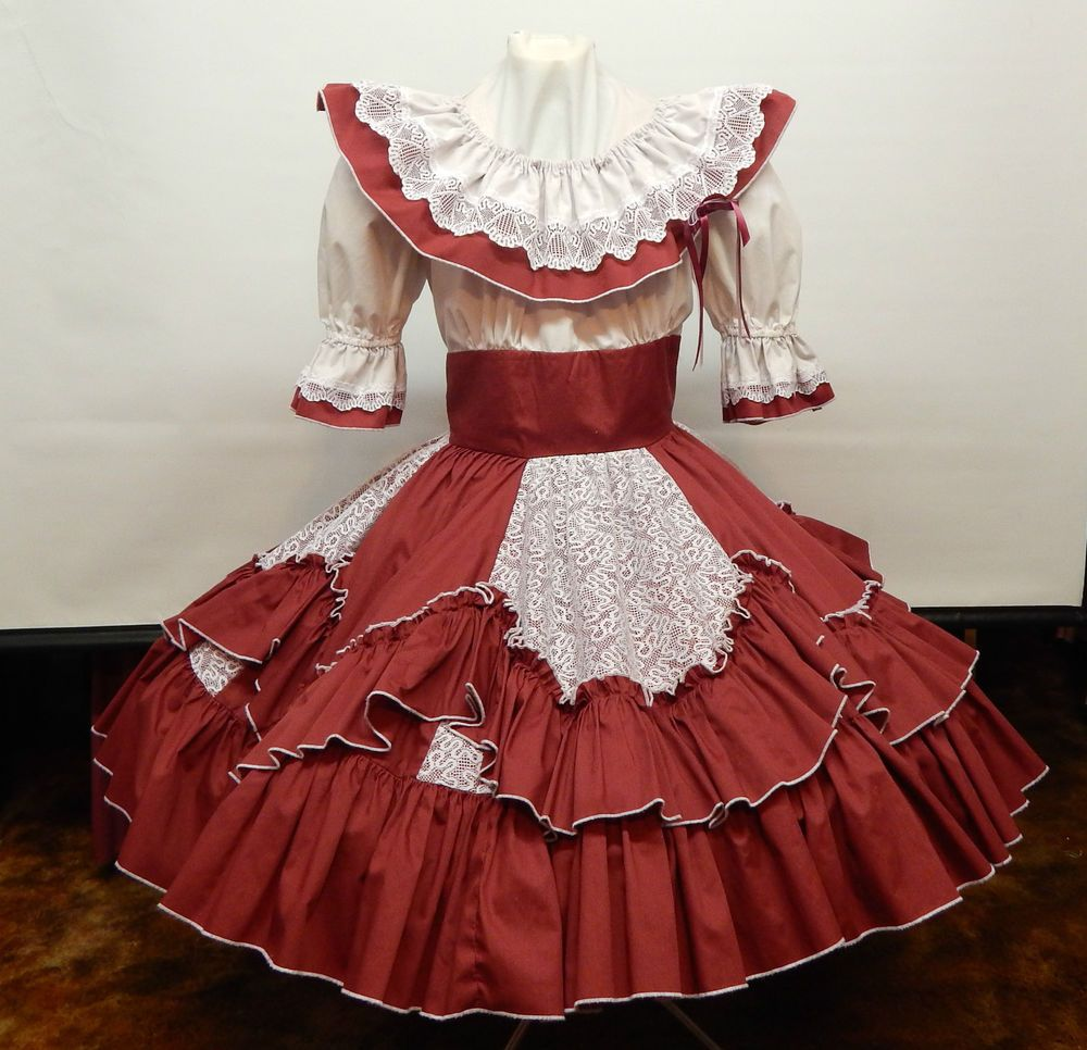 BARBARA'S WESTERN FASHIONS MAROON AND WHITE SQUARE DANCE ...