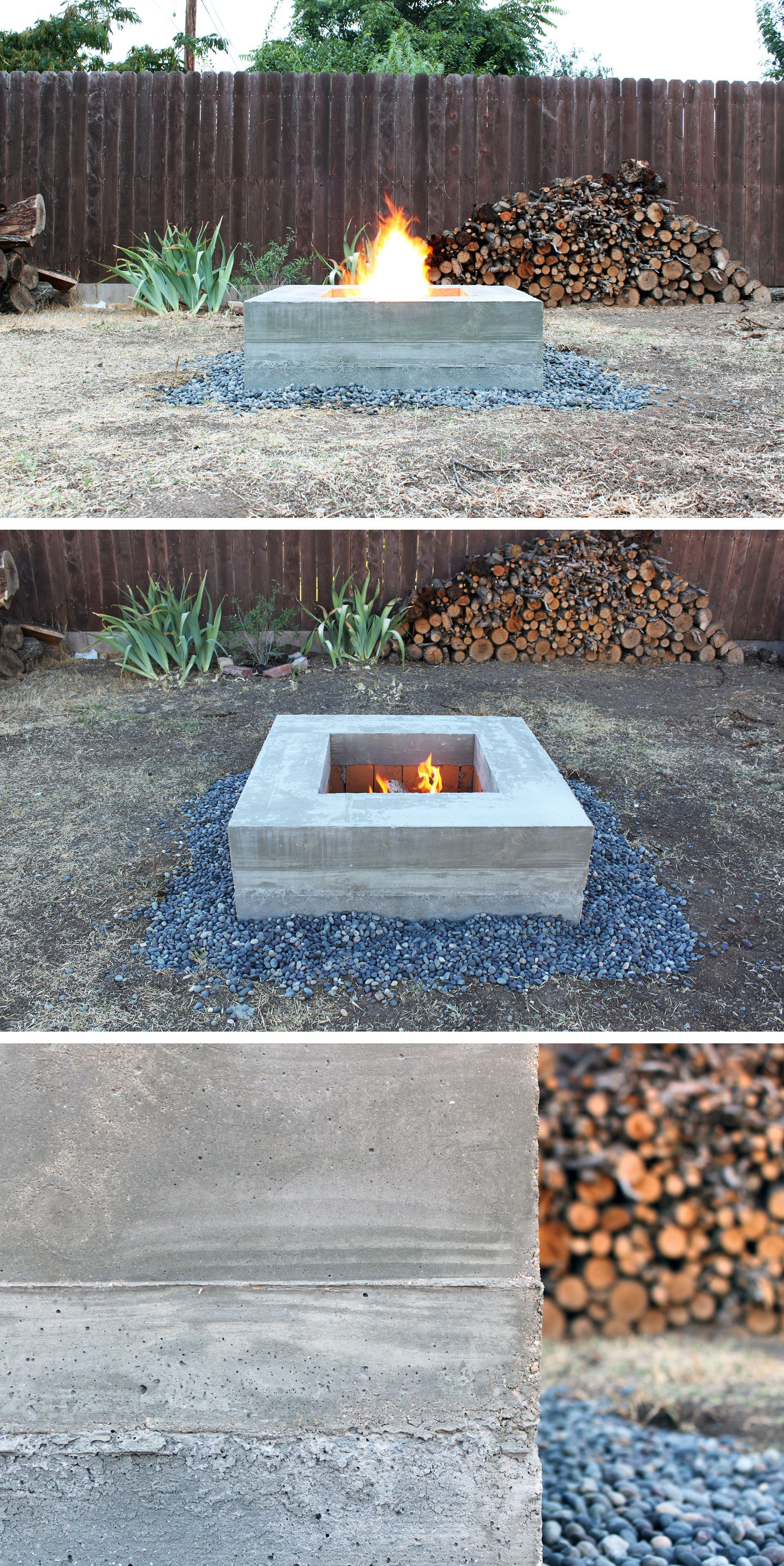 this concrete fire pit is a project that can be done over the